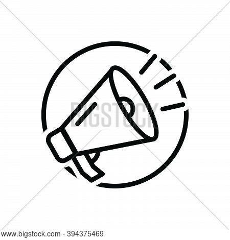 Black Line Icon For Shout Exclaim Scream Bawl Holler Megaphone Horn Speak Voice Broadcast Speaker So