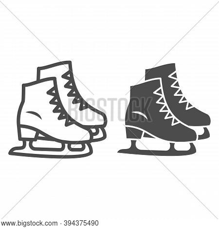 Skates Line And Solid Icon, New Year Concept, Skating Sign On White Background, Ice Skate Icon In Ou