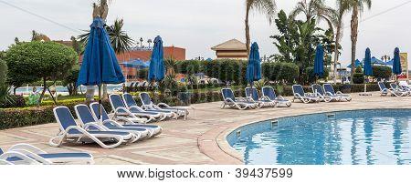 Lounge chairs pool