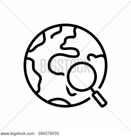 Black Line Icon For Everything Each-item Each-thing All The-total Global Earth Research Map