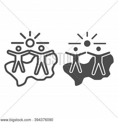 Happy People Under Sun Line And Solid Icon, Life Without Addiction Concept, Anti Drug Sign On White