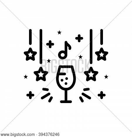 Black Line Icon For Club Party Wine Decorated Beverage Enjoy Delight Enjoyment Happy Celebrate Event