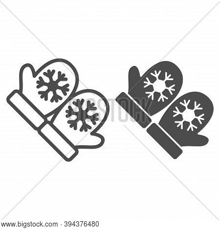 Snowflakes On Mittens Line And Solid Icon, World Snow Day Concept, Pair Of Knitted Christmas Mittens