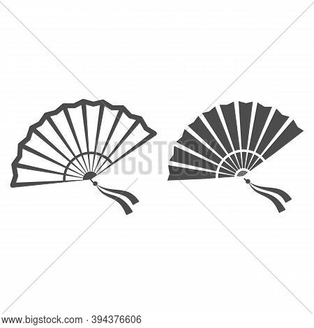 Chinese Fan Line And Solid Icon, Chinese Mid Autumn Festival Concept, Traditional Fan With Ribbons S