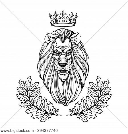 Lion's Head With A Royal Crown & An Oak Wreath Ornament, Heraldic Symbol Of Nobility, Bravery, Power