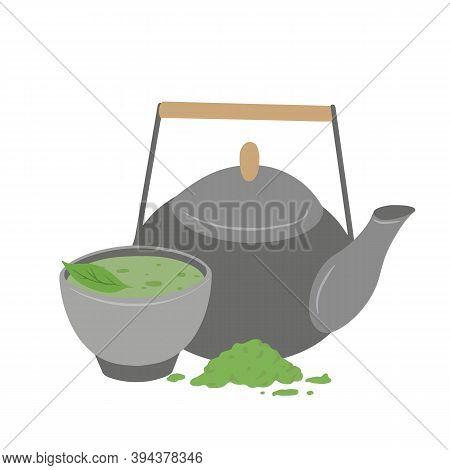 Japanese Matcha Green Tea Powder. Traditional Tea Ceremony. Cup Of Tea, Matcha Powder, Clay Teapot A