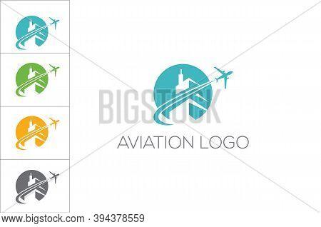 Aviation Logo. Airplane Icon Vector Illustration Design Logo Template.