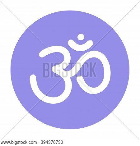 Om Sign. Vector Sacral Icon. Meditation Round Symbol. Yoga. Color Illustration