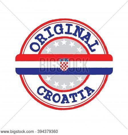 Vector Stamp Of Original Logo With Text Croatia And Tying In The Middle With Nation Flag. Grunge Rub