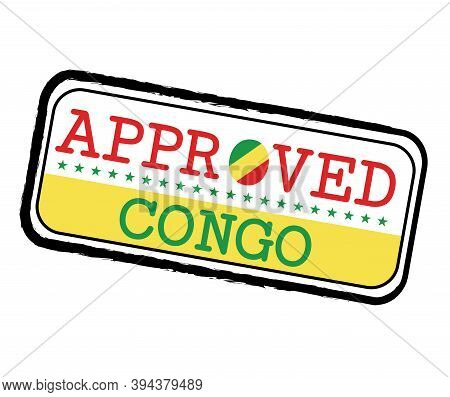 Vector Stamp Of Approved Logo With Congo Flag In The Shape Of O And Text Congo. Grunge Rubber Textur
