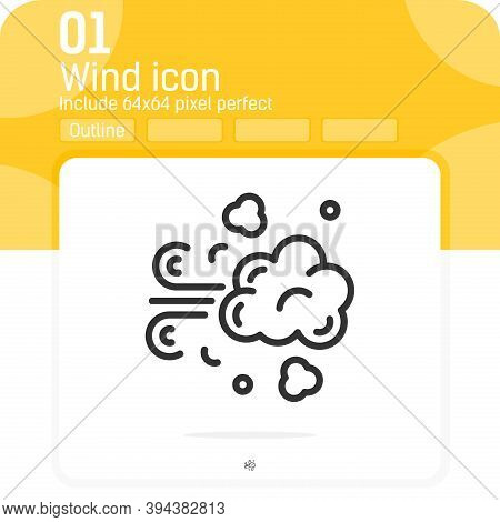 Wind Lines Icon With Outline Style Isolated On White Background From Weather Collection. Vector Illu