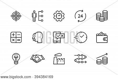 Business And Finance, Vector Set Of Linear Icons. Business Organization. Income Marketing Time Team
