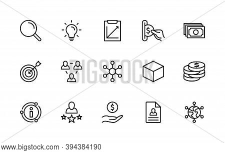 Business And Finance, Vector Set Of Linear Icons. Business Management. Search, Planning, Experience,