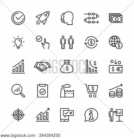 Business And Finance Management, Vector Linear Icons Set. Task Idea Income Marketing Time Team Test