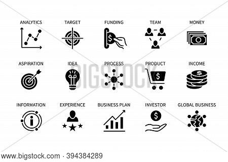 Business And Finance, Vector Set Of Silhouette Icons. Business Management. Idea, Planning, Experienc