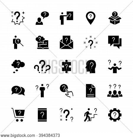 Simple Silhouette Set Of Question Related Vector Icons. Contains Icons Such As Problem, Task, Puzzle