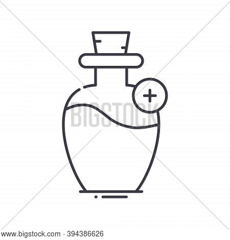 Mana Potion Icon, Linear Isolated Illustration, Thin Line Vector, Web Design Sign, Outline Concept S