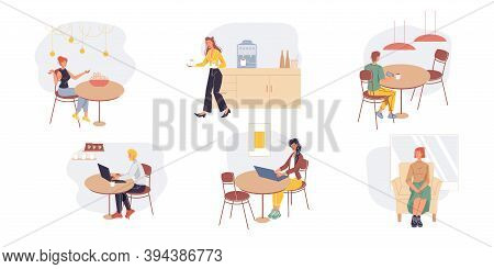Set Of Cartoon Flat Characters Office Workers, Busy Employees, Freelancers Doing Business And Variou