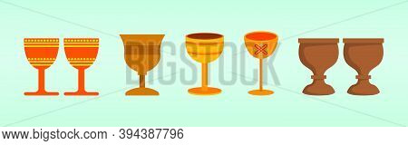 Cup Called Kikombe Cha Umoja For Kwanzaa. Cartoon Icon Design Template With Various Models. Modern V