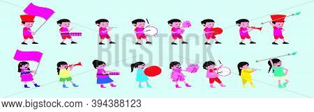 Cartoon Marching Band Collection With Boy And Girl Icon Design Templates With Various Models. Modern