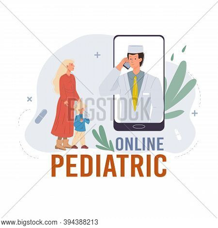 Cartoon Flat Doctor Character In Uniform, Laboratory Coat With Medical Devices And Patient-web Onlin