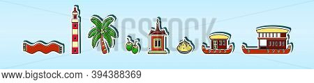 Set Of Kerala Element. Boat, Palm And More. Cartoon Icon Design Template With Various Models. Modern