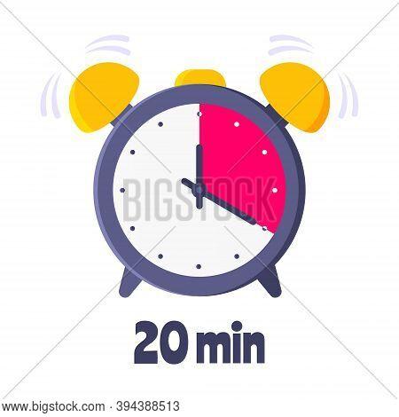 Twenty Minutes On Analog Clock Face Flat Style Design Vector Illustration Icon Sign Isolated On Whit