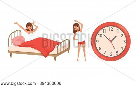 Girl Waking Up And Doing Morning Workout Set, Young Woman Activity And Daily Routine Cartoon Vector