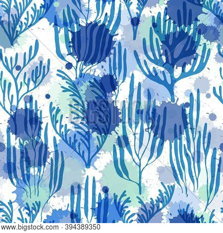 Ocean Corals Seamless Pattern. Paint Splashes Drops Watercolor Background. Aquatic Plants Repeating