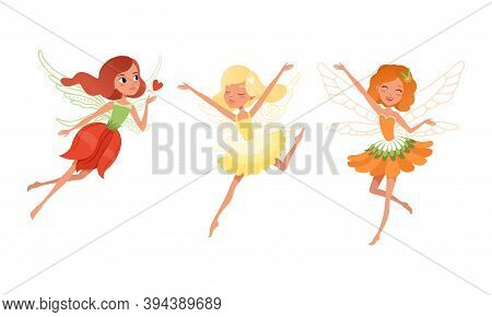 Cute Girls Fairies With Wings Set, Beautiful Girls Flying In Colorful Pretty Dresses Cartoon Vector