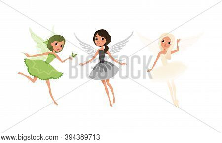 Lovely Girl Fairies With Wings Set, Beautiful Girls Flying In Pretty Dresses Cartoon Vector Illustra