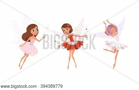 Cute Girls Fairies With Wings Set, Lovely Girls Flying In Colorful Pretty Flower Dresses Cartoon Vec