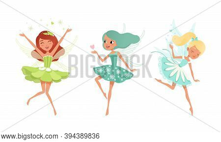 Cute Girls Fairies With Wings Set, Beautiful Girls Flying In Pretty Flower Dresses Of Pastel Colors