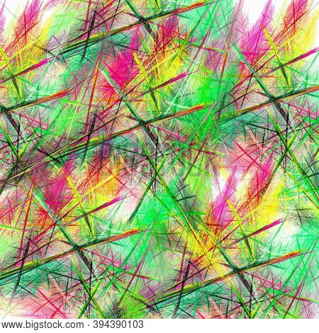 Abstract Fractal Background With Straight Intersecting Lines And Multicolored Blurred Spots. Imitati