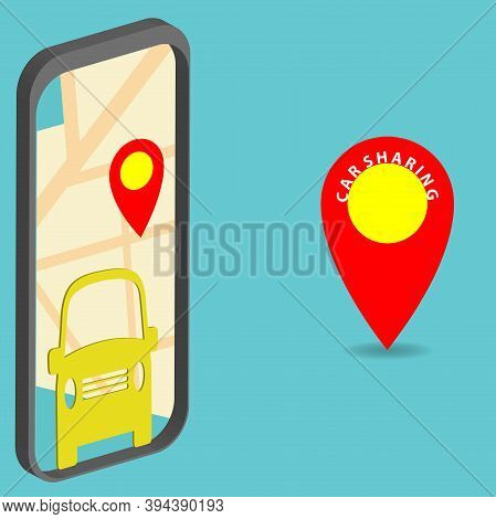 Car Sharing Concept. Car Sharing Application On The Mobile Phone