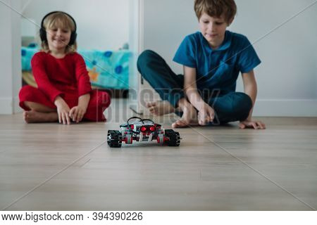 Kids Testing Robot They Built At Home, Stem For Kids