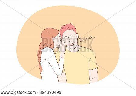 Joke, Sharing Secrets, Flirting, Dating, Romance Concept. Girl Teen Cartoon Character Whispering Jok