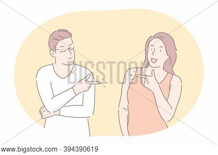 Couple Expressing Positive Dispute And Relationship Concept. Young Couple Cartoon Characters Standin