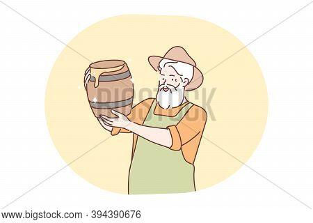 Beekeeping, Harvesting, Honey Concept. Old Man Senior Citizen Pensioner Farmer Beekeeper Cartton Cha