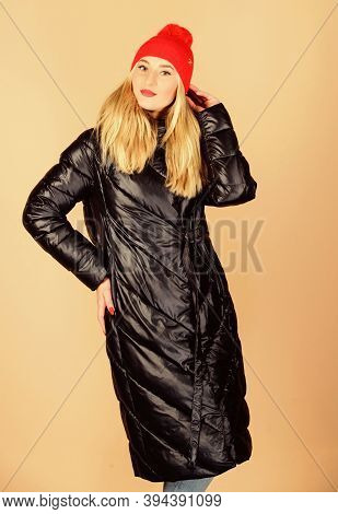 Warm Coat. Fashion Model. Comfortable Down Jacket. Usual Jacket And Fashion Accessory Matching Outfi