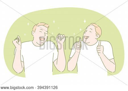 Happiness, Positive Emotions, Cheerful And Happy Face Concept. Smiling Boy Cartoon Characters Standi