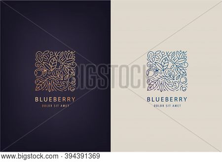 Vector Line Logo Design Template Leaves And Blueberries. Nature Badge For Holistic Medicine Centers