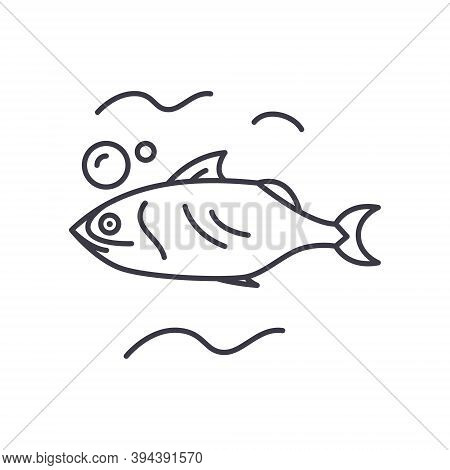 Mackerel Icon, Linear Isolated Illustration, Thin Line Vector, Web Design Sign, Outline Concept Symb