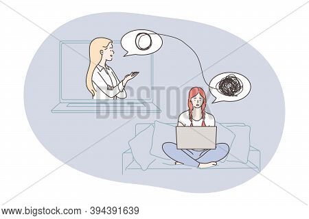 Psychology, Depression, Anxiety Concept. Doctor Making Psychological Consultation For Depressed Frus
