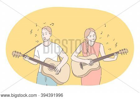 Music, Band, Playing Guitar, Singer Concept. Young Couple Man And Woman Cartoon Characters Playing G