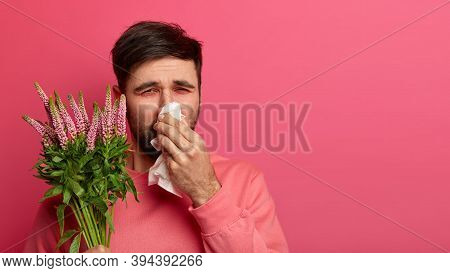 Health Care And Problems With Breathing. Sick Bearded Man Rubs Nose With Tissue, Sneezes Constantly