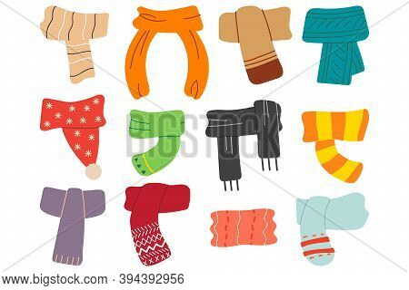 Winter Scarves Doodle Set. Collection Of Woolen Cotton Knitting Autumnal Wintry Headwear Scarf For K