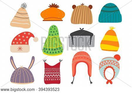 Winter Hats Doodle Set. Collection Of Colourful Woolen Cotton Knitting Autumnal Wintry Headwear For