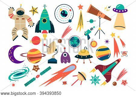Space Doodle Set. Collection Science Fiction Drawing Of Astronaut With Spacesuit Planets And Stars W