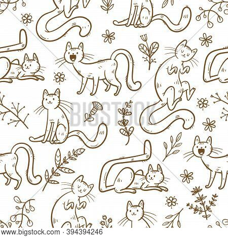 Seamless Pattern With Cute Cats And Plants On  White Background. Funny Kittens Are Walking On The Gr
